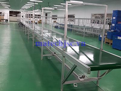 Băng tải PVC khung nhôm định hình dài 25 mét