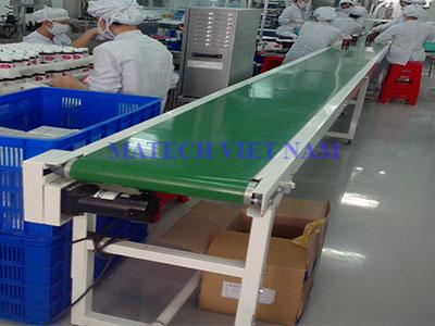 Băng tải PVC khung thép lắp ráp điện tử