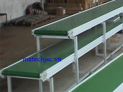 Băng tải hai tầng lệch PVC khung nhôm định hình
